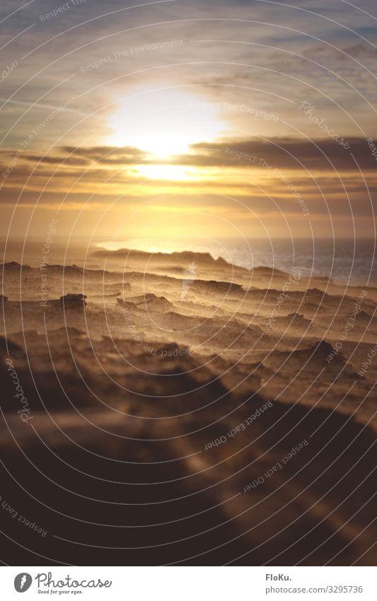 Sandsturm an der Jammerbucht Himmel Ferien & Urlaub & Reisen Natur Landschaft Sonne Reisefotografie Strand Berge u. Gebirge gelb Umwelt Küste Erde Wind