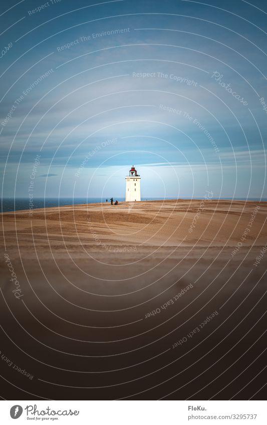 Rubjerg Knude an neuer Position Ferien & Urlaub & Reisen alt blau weiß Landschaft Meer Strand Umwelt Küste Tourismus Sand Ausflug Horizont Erde trist Turm