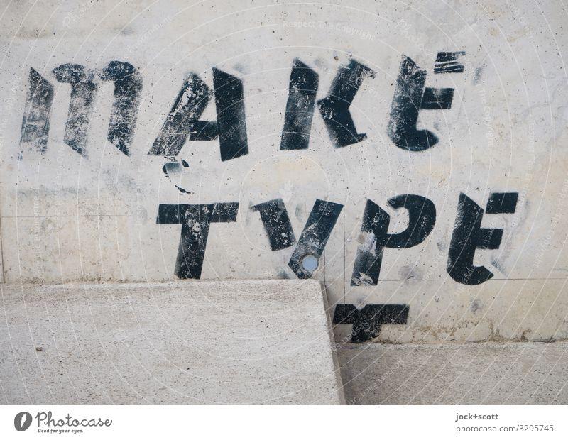 make type transparent Straßenkunst Wand Treppe Beton Wort Englisch Typographie fest einzigartig nah unten grau Verschwiegenheit Design Idee Kreativität Stil