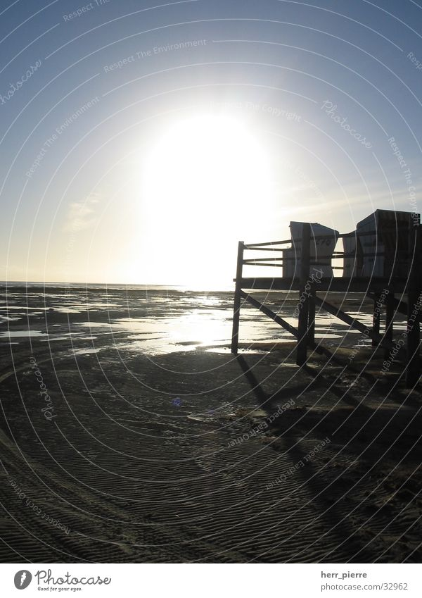 Morgen ist auch noch ein Tag Sonnenuntergang Meer Strand Strandkorb Ferien & Urlaub & Reisen Ebbe heilig St. Peter-Ording Wasser Flut Wattenmeer
