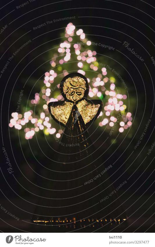 Engel aus Glas II Zeichen mehrfarbig gelb schwarz weiß Weihnachten & Advent Dekoration & Verzierung Tanne Außenaufnahme Innenaufnahme Licht Lichtpunkt