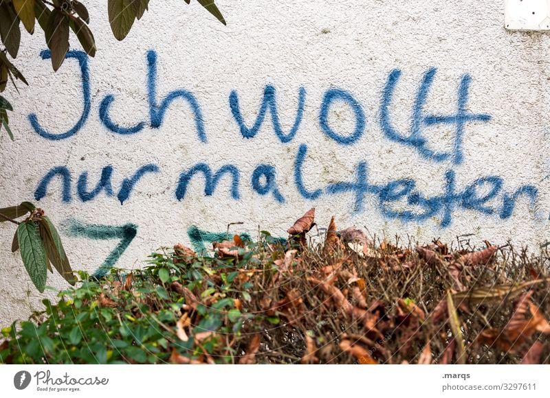 Test | Geschriebenes Graffiti Herbst Wand Mauer Schriftzeichen dreckig Kommunizieren Sträucher trashig Versuch Weisheit Vandalismus