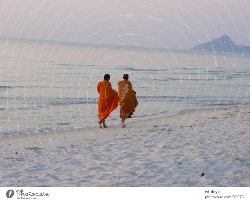 Mönche Strand ruhig Sand Thailand Geistlicher Asien
