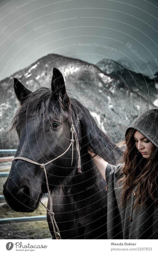 Woman with Horse in a mystical, winter Landscape feminin Frau Erwachsene 1 Mensch 18-30 Jahre Jugendliche Natur Landschaft Winter Schnee Alpen Berge u. Gebirge