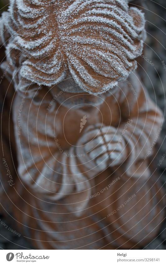 Engel mit betenden Händen aus der Vogelperspektive, mit Raureif bedeckt Winter Eis Frost Dekoration & Verzierung Stein Zeichen frieren knien ästhetisch