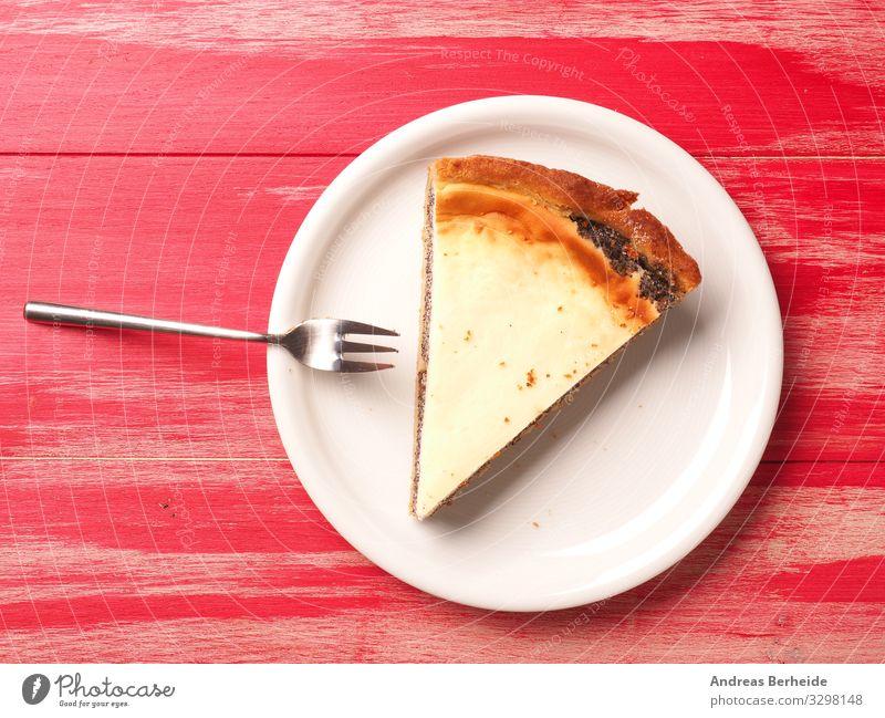 Tasty organic cheese cake with poppyseed Kuchen Dessert Restaurant Geburtstag lecker süß weich gelb Hintergrundbild baked bakery black cheesecake cream