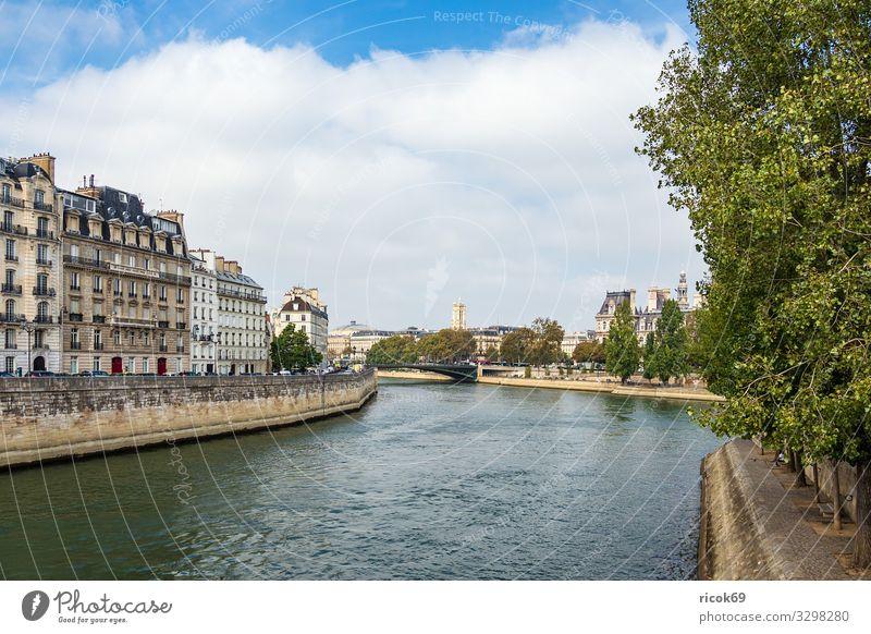 Blick über die Seine in Paris, Frankreich Erholung Ferien & Urlaub & Reisen Tourismus Städtereise Haus Wasser Wolken Herbst Baum Fluss Stadt Hauptstadt Brücke