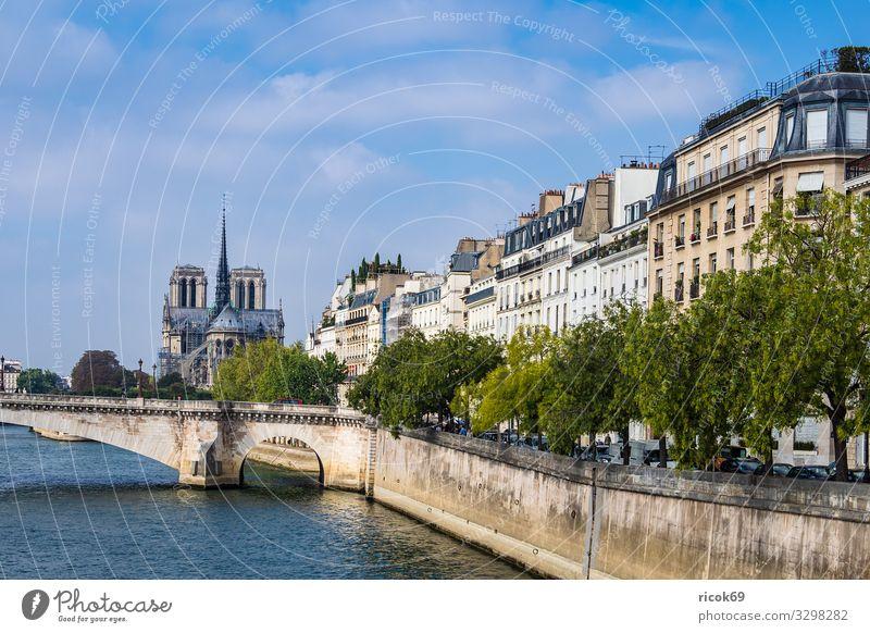 Blick über die Seine in Paris, Frankreich Ferien & Urlaub & Reisen Tourismus Städtereise Wasser Wolken Herbst Baum Fluss Stadt Hauptstadt Brücke Gebäude
