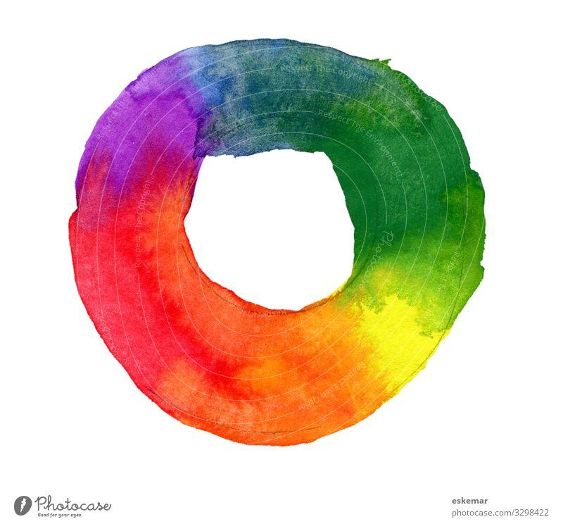 Farbkreis Aquarell Farben Kreis Malerei gemalt Wasserfarbe Komplementärfarbend Primärfarben Kunst Farbenlehre niemand menschenleer Textfreiraum