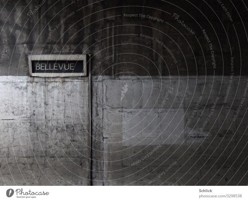 Bellevue Architektur Mauer Wand U-Bahn Beton Schriftzeichen Schilder & Markierungen Hinweisschild Warnschild dreckig dunkel braun grau ästhetisch Metro