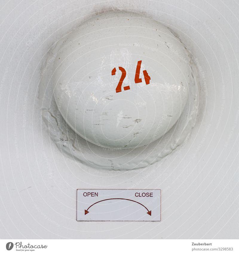 Open - close - 24 Schalter Technik & Technologie Industrie Schifffahrt Ventil Metall drehen einfach rund rot weiß Ausdauer Ordnungsliebe Genauigkeit Sicherheit