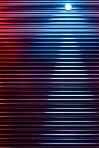 Struktur rot - blau - Licht Design Innenarchitektur Kunstwerk Wandleuchte Beleuchtung Strukturen & Formen Metall stehen silber modern Engel Linie Farbfoto