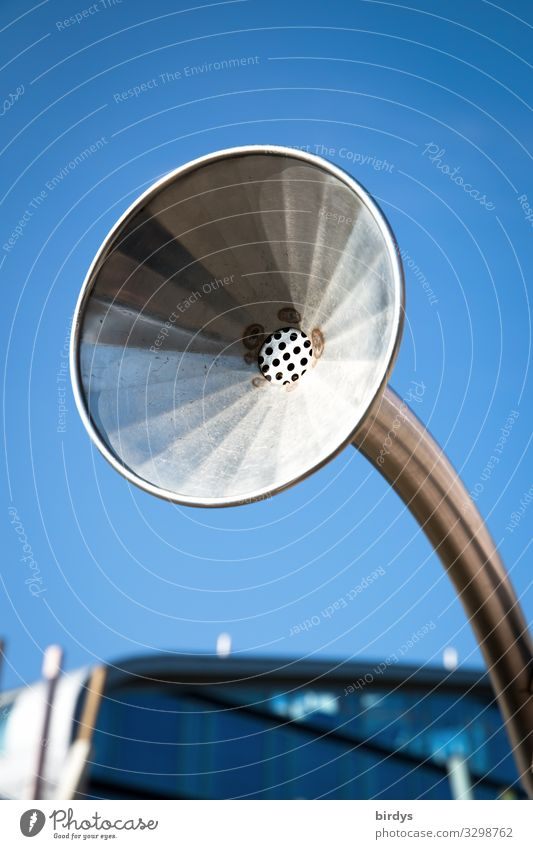 Laut Stil Musik hören Wolkenloser Himmel Schönes Wetter Lautstärke Lautsprecher Grammophon Trichter alt einfach blau grau Senior Design Nostalgie lautstark