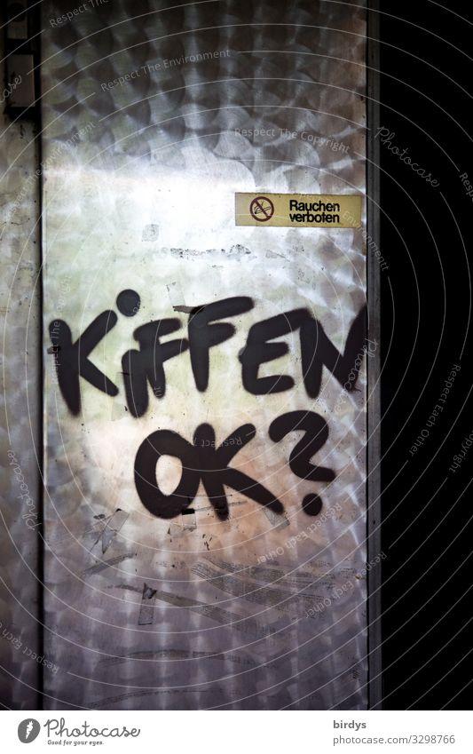 kleiner Scherzkeks Rauchen Rauschmittel Tür Metall Zeichen Schriftzeichen Hinweisschild Warnschild Graffiti authentisch außergewöhnlich frech lustig rebellisch