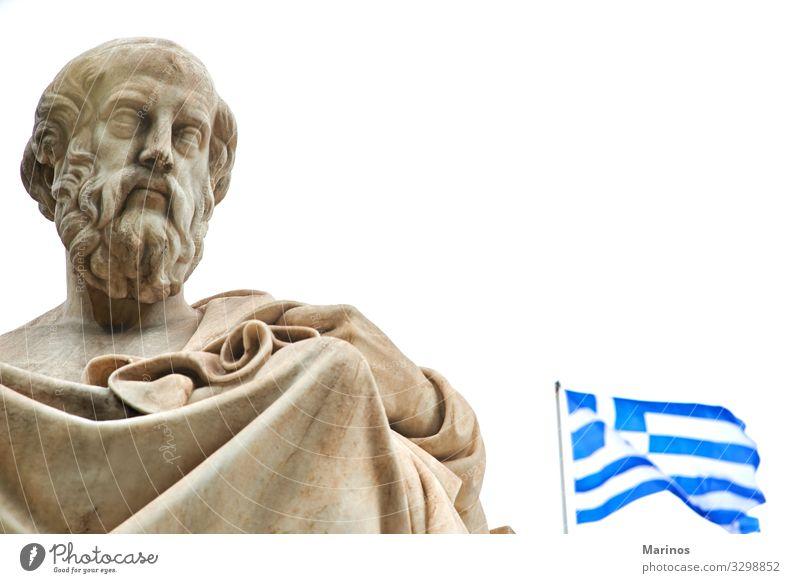 Statue von Platon in Athen. Ferien & Urlaub & Reisen Tourismus Kunst Kultur Himmel Architektur historisch blau plato Griechen Griechenland Sokrates Wahrzeichen