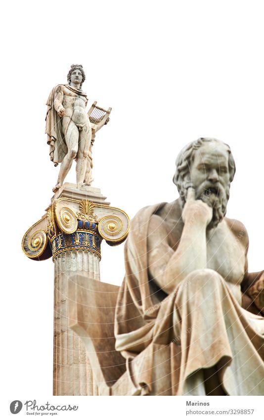 Der altgriechische Gott Apollon. Ferien & Urlaub & Reisen Wissenschaften Schule Studium Kunst Kultur Platz Gebäude Architektur Denkmal Griechen Mythologie