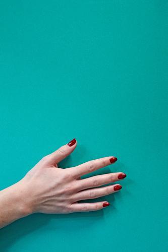Frau Mensch Farbe schön rot Hand Erwachsene Finger Beautyfotografie Fingernagel Spa Behandlung Maniküre Klient