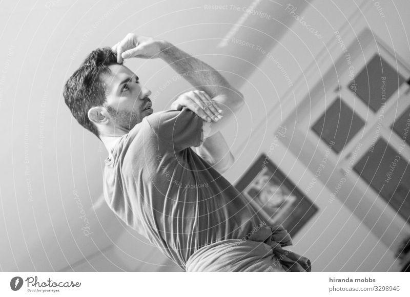 narcissist/bolero maskulin Junger Mann Jugendliche 1 Mensch 30-45 Jahre Erwachsene Kunst Bühne Tanzen Tänzer Balletttänzer Musik T-Shirt Stoff schwarzhaarig