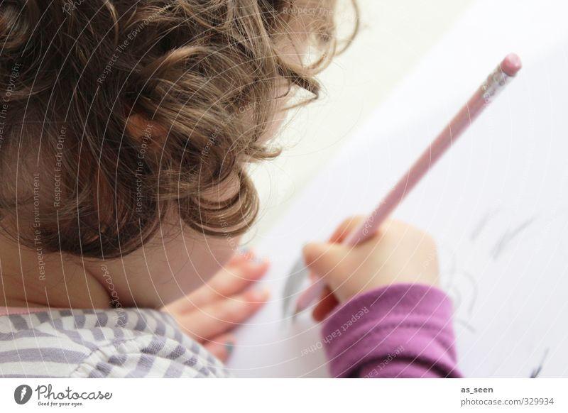 Malen feminin Kind Kleinkind Mädchen Kopf Haare & Frisuren Hand 1 Mensch 1-3 Jahre Kunst Künstler Kunstwerk Locken Papier Zettel Schreibstift braun grau rosa
