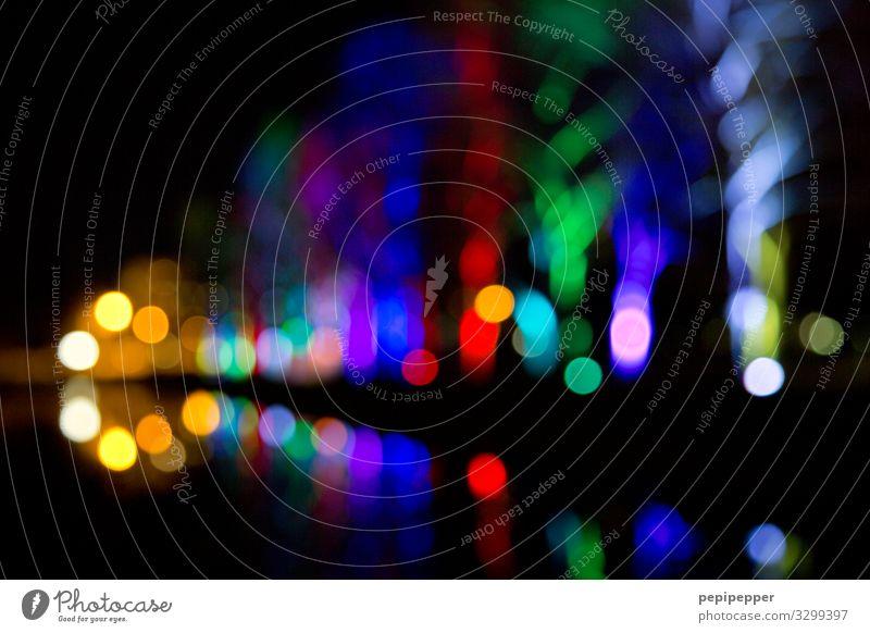 nightlights Ferien & Urlaub & Reisen Nachtleben Kunstwerk Baum Park Ornament Graffiti Kugel leuchten mehrfarbig Farbfoto Außenaufnahme abstrakt Muster
