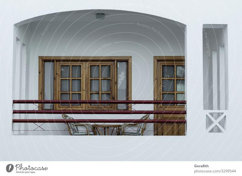 Balkon des Ferienhauses in Ägypten Ferien & Urlaub & Reisen Haus Möbel Stuhl Tisch Gebäude weiß Geborgenheit Dahab Süd-Sinai Unterkunft bequeme Unterbringung