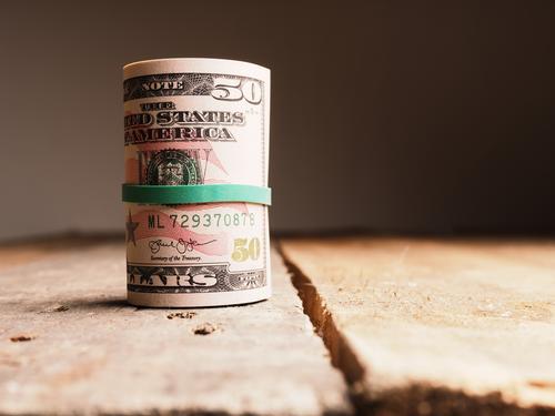 Ein Röllchen Dollar Reichtum Freude Business Geld Liebe Erfolg kaufen Selbstständigkeit Ziel abundance america american bank bank cards banking Geldscheine cash
