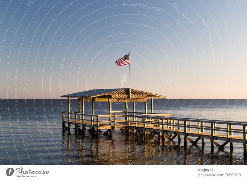 Zweifellos USA Ferien & Urlaub & Reisen Sommer Sommerurlaub Meer Wolkenloser Himmel Horizont Schönes Wetter Florida Amerika Nordamerika Steg Anlegestelle