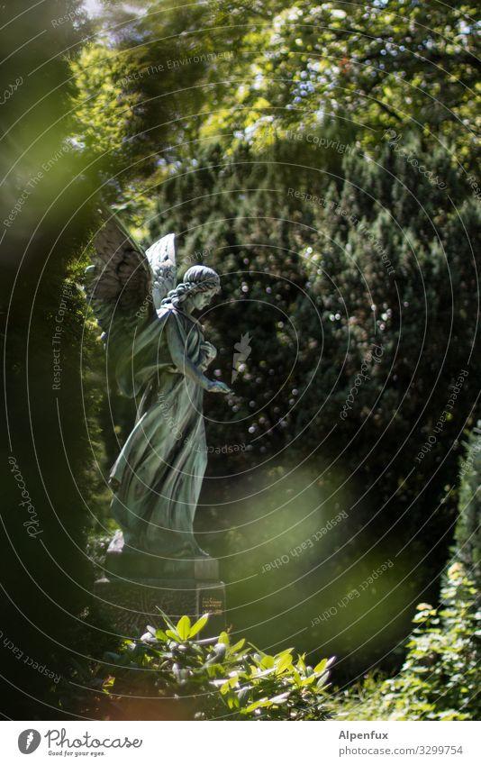 Engel-Stalker Skulptur Pflanze Schönes Wetter Garten Park Blick stehen grün Vertrauen Güte trösten geduldig ruhig Glaube Traurigkeit Trauer Tod entdecken