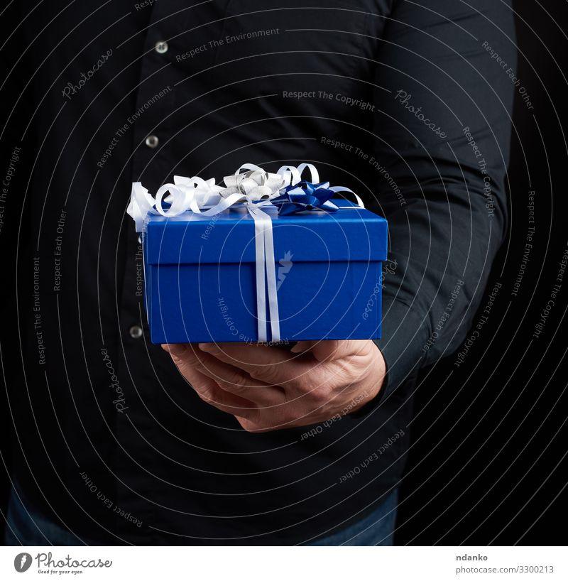 blaue quadratische Schachtel mit weißer Schleife Dekoration & Verzierung Feste & Feiern Valentinstag Muttertag Weihnachten & Advent Silvester u. Neujahr