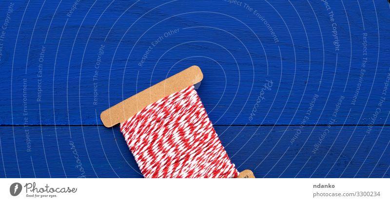 Rot-weißer Faden des Handwerks Freizeit & Hobby Handarbeit stricken Dekoration & Verzierung Feste & Feiern Seil Holz Linie hell blau rot Farbe Kreativität