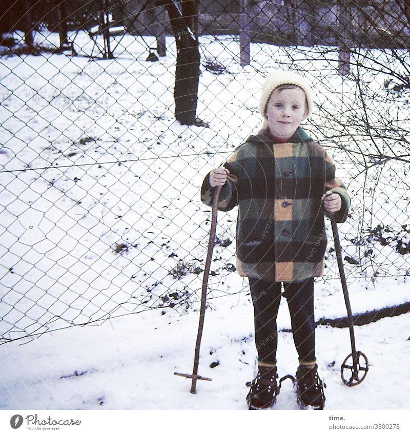 abfahrbereit Mensch Baum Mädchen Wege & Pfade feminin Schnee Zufriedenheit stehen Perspektive beobachten Neugier Skifahren Zaun Leidenschaft Konzentration Mütze