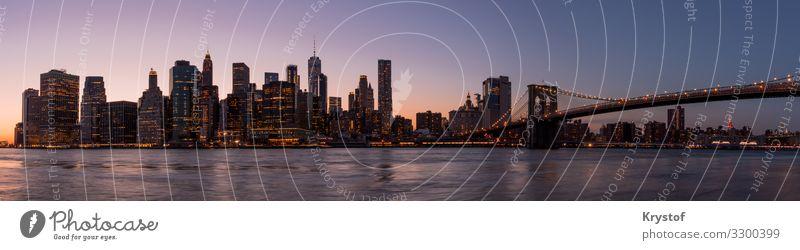 New Yorker Panorama Umwelt New York City USA Nordamerika Skyline Haus Architektur ästhetisch Farbe Stadt Farbfoto Außenaufnahme Menschenleer Morgendämmerung