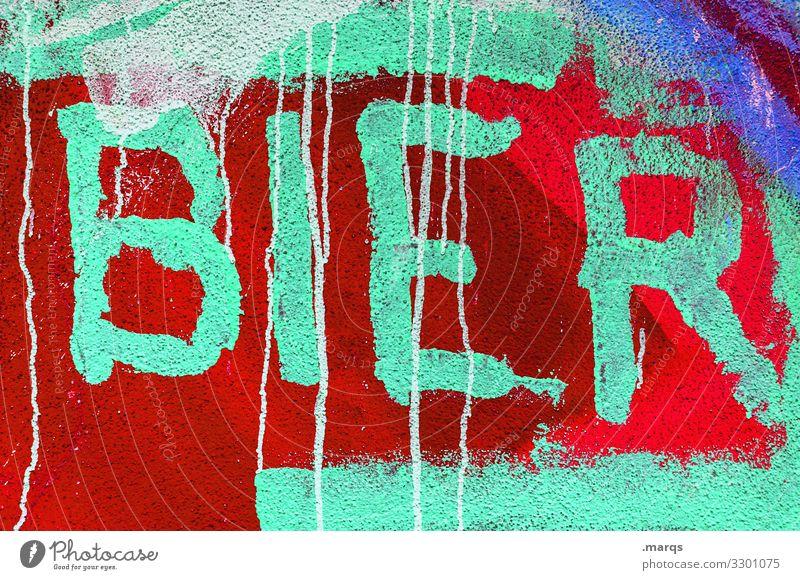 BIER   Geschriebenes Bier Farbstoff Schriftzeichen Graffiti trinken grün rot Sucht Farbfoto Außenaufnahme Nahaufnahme
