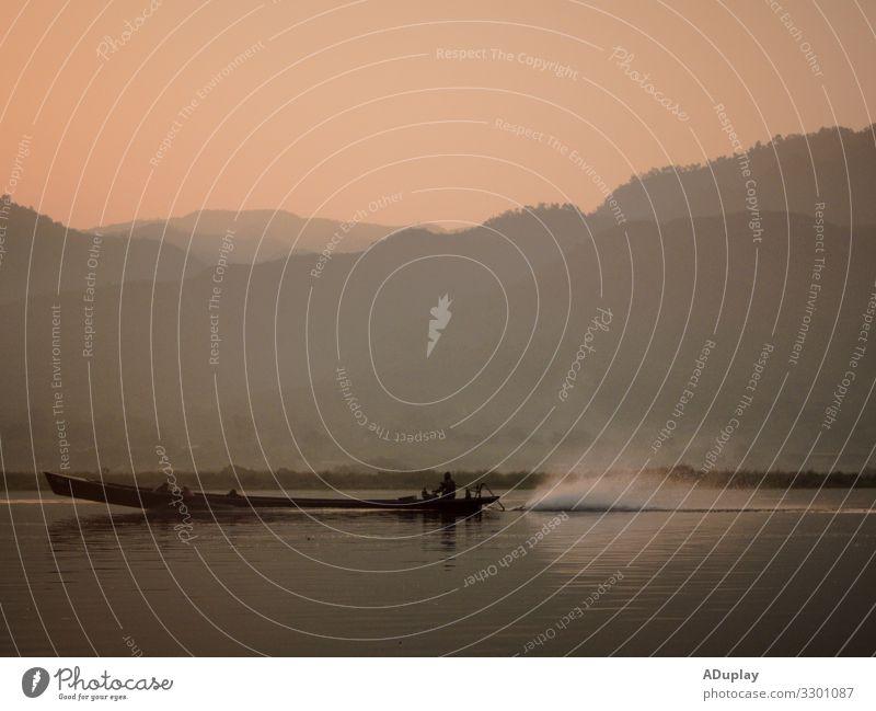 Sonnenaufgangs-Bootsfahrt auf dem Inle See, Myanmar exotisch Ferien & Urlaub & Reisen Tourismus Ausflug Abenteuer Ferne Freiheit Sightseeing Kreuzfahrt
