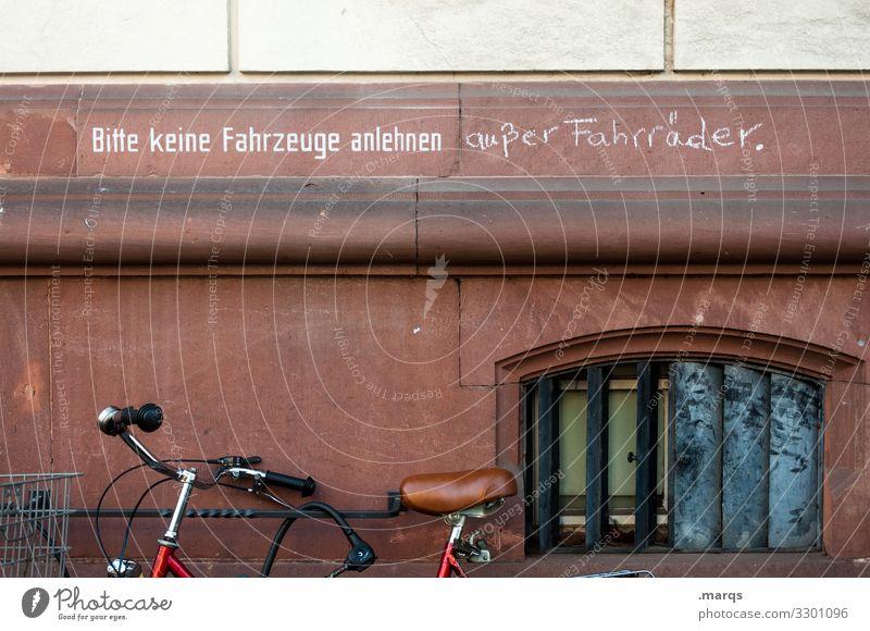 Selbstjustiz Hauswand Fahrrad parken Verbot Typographie Hinweis anlehnen illegal lustig