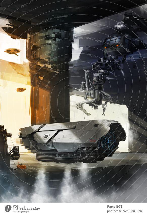 Futuristische Fluggerät im Hangar. SciFi Illustration Technik & Technologie Fortschritt Zukunft High-Tech Raumfahrt Roboter Flughafen Raumfahrzeuge fliegen