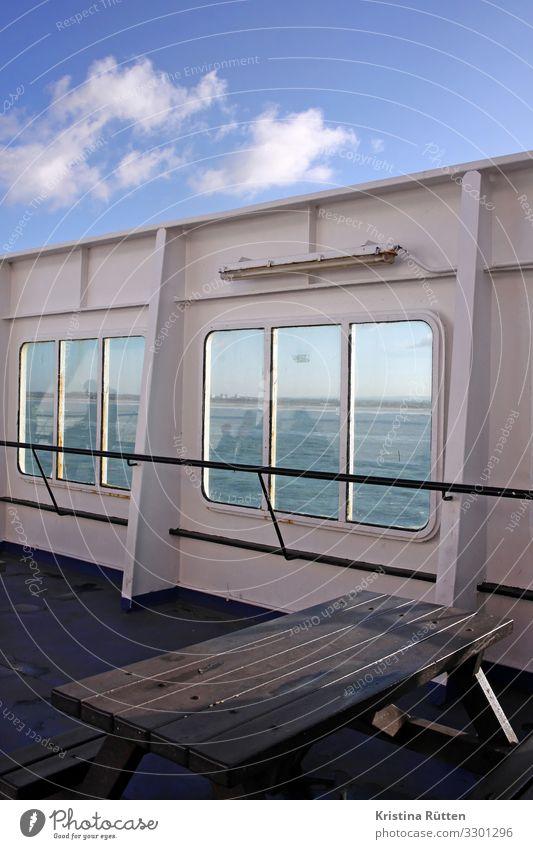 aussendeck Ferien & Urlaub & Reisen Ausflug Tisch Wasser Meer See Verkehr Verkehrsmittel Passagierschiff Fähre Wasserfahrzeug fahren Oberdeck Schiffsdeck