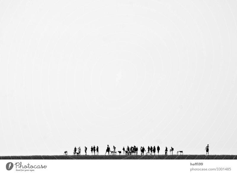 flimmernde Menschenmenge in der Ferne bei Ebbe im Wattenmeer wandern Ausflug Strand Meer Wattwandern Landschaft Schönes Wetter Küste Nordsee Wüste Bewegung