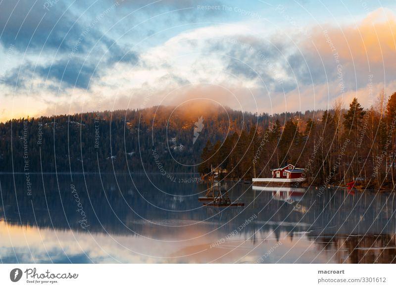Haus am See Wasser Winter Berge u. Gebirge kalt Schnee Küste Nebel Seeufer gefroren Abenddämmerung Steg Flussufer Skandinavien Norwegen Schneelandschaft