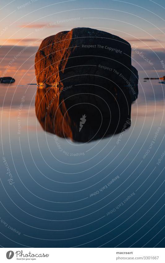 Abendrot an der Küste Schwedens Himmel Ferien & Urlaub & Reisen Natur Sommer Wasser Landschaft Sonne Meer Erholung Reisefotografie Berge u. Gebirge Stein See