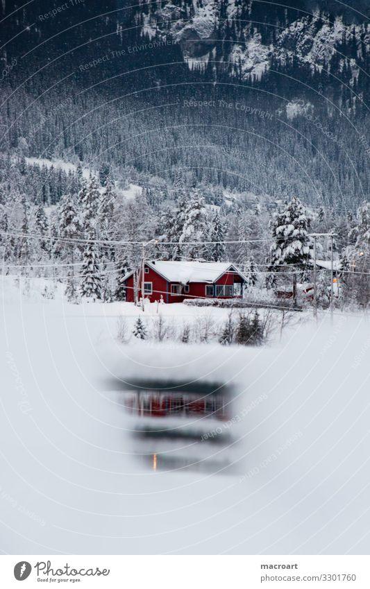 Haus am See Schneelandschaft Norwegen Skandinavien Norweger Berge u. Gebirge Landschaft Natur Himmel Winter Dorf Wald Aussehen Gras Neuschnee