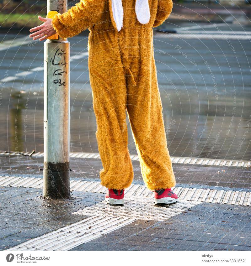 ein jecker Hase Freude Feste & Feiern Karneval Straßenkarneval maskulin Junger Mann Jugendliche 1 Mensch 18-30 Jahre Erwachsene Fußgänger Ampel Maske