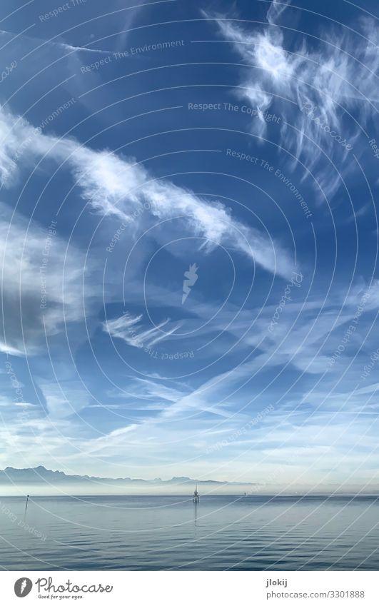 Bodensee Landschaft Wasser Himmel Wolken Horizont Winter Schönes Wetter Ferien & Urlaub & Reisen Freizeit & Hobby Idylle Nebel Wolkenschleier Wellen mehrfarbig