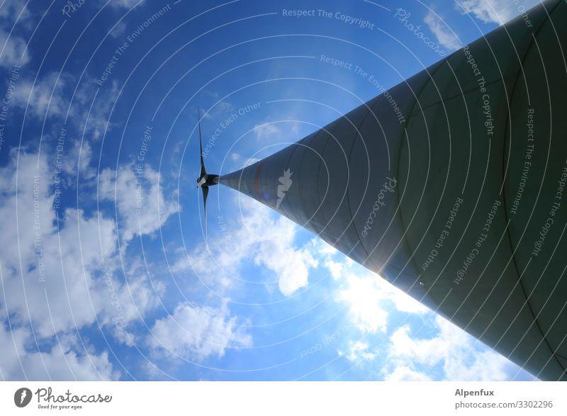 oben dreht sich's Technik & Technologie Energiewirtschaft Erneuerbare Energie Windkraftanlage Umwelt Landschaft Himmel Wolken Klima Klimawandel drehen hoch
