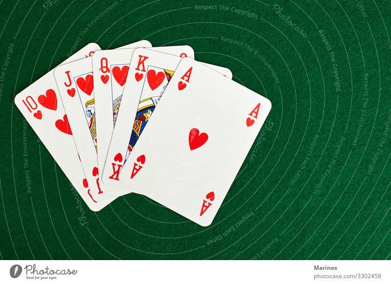 Poker-Karten Spielen Tisch Erfolg grün rot Glücksspiel Kurhaus Schüreisen Hintergrund Postkarte Jeton Wette Wetten Aussicht Halt Stapel Spieler Spielkarte