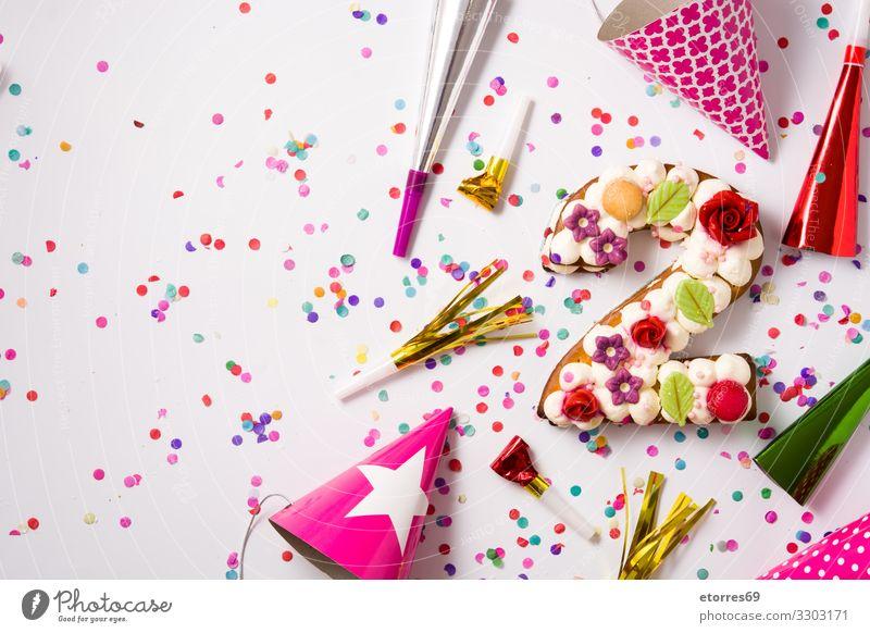 Torte Nummer zwei mit Blumen, Makronen und Konfetti dekoriert Ziffern & Zahlen zählen Backwaren Kuchen Geburtstag erste Bäckerei Dekoration & Verzierung Zucker