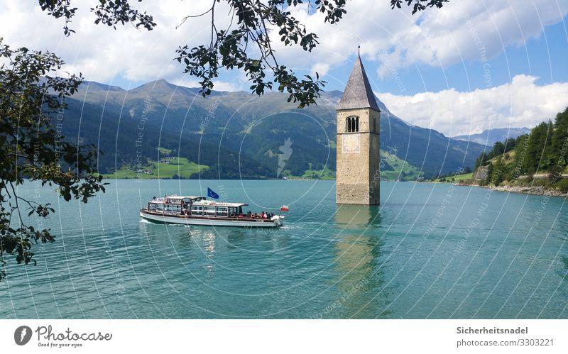 Reschensee Tourismus Ausflug Natur Wasser Sommer Schönes Wetter Alpen Berge u. Gebirge See Kirche Bootsfahrt Wasserfahrzeug schön blau Südtirol Italien Stausee