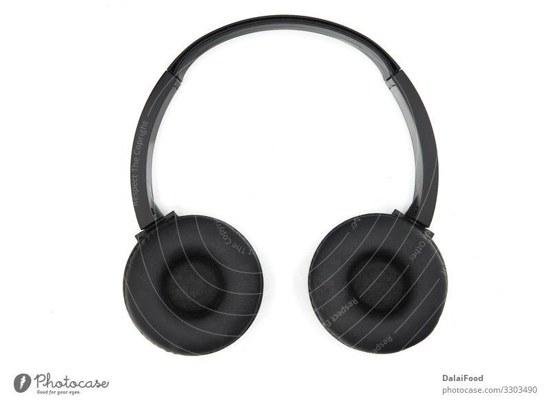 Kopfhörer für Musik im weißen Hintergrund Entertainment Diskjockey Telefon Headset Technik & Technologie modern schwarz Mobilität Audio Kabel Gerät digital