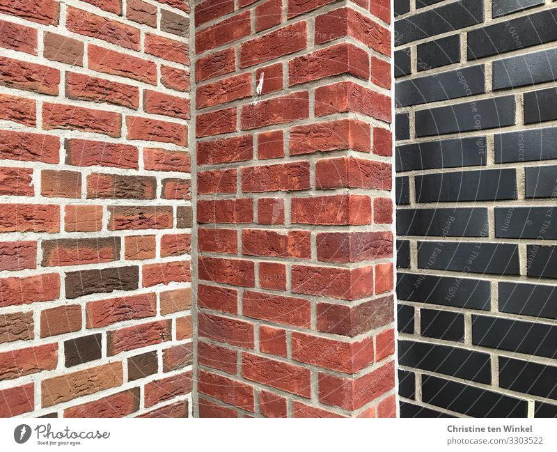 rote und schwarze Mauern Wand Fassade Stein authentisch außergewöhnlich eckig kalt nah modern trist Stadt orange Einsamkeit Stress Perspektive Ferne skurril