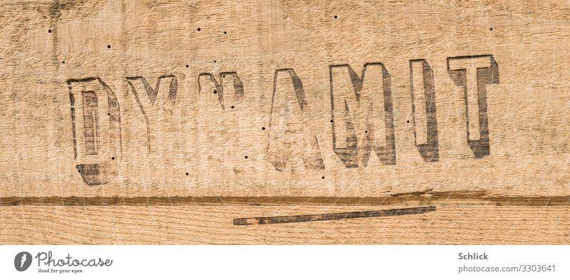 Sprengstoff Dynamit Sprengtechnik Verpackung Kasten Holz Schriftzeichen alt Abenteuer Zerstörung Kiste Holzkiste Detail Aufdruck vintage 1950 Wurmlöcher